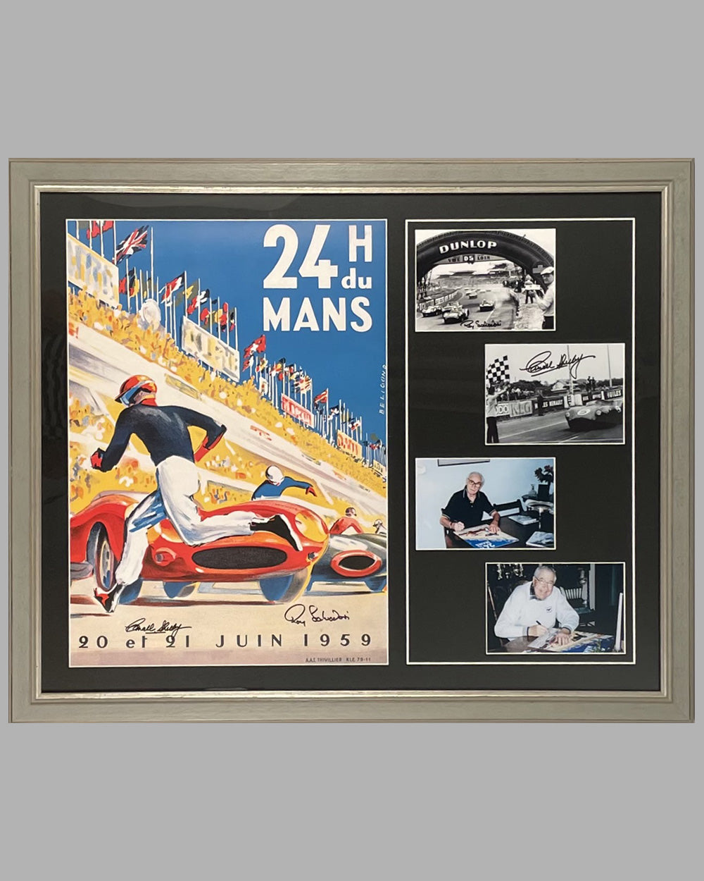 1959 - 24 Hours of Le Mans official ACO reproduction poster, autographed by the 2 winners