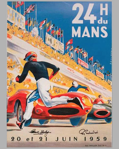 1959 24 Heures du Mans official ACO reproduction event poster by Beligond, France, autographed