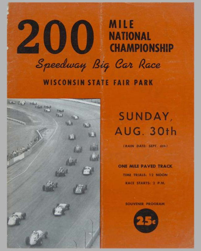 1959 Wisconsin USAC 200 Mile Championship official program