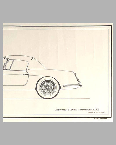 1960 Ferrari Super America Cabriolet China Ink Original Drawing by the Pininfarina Studio