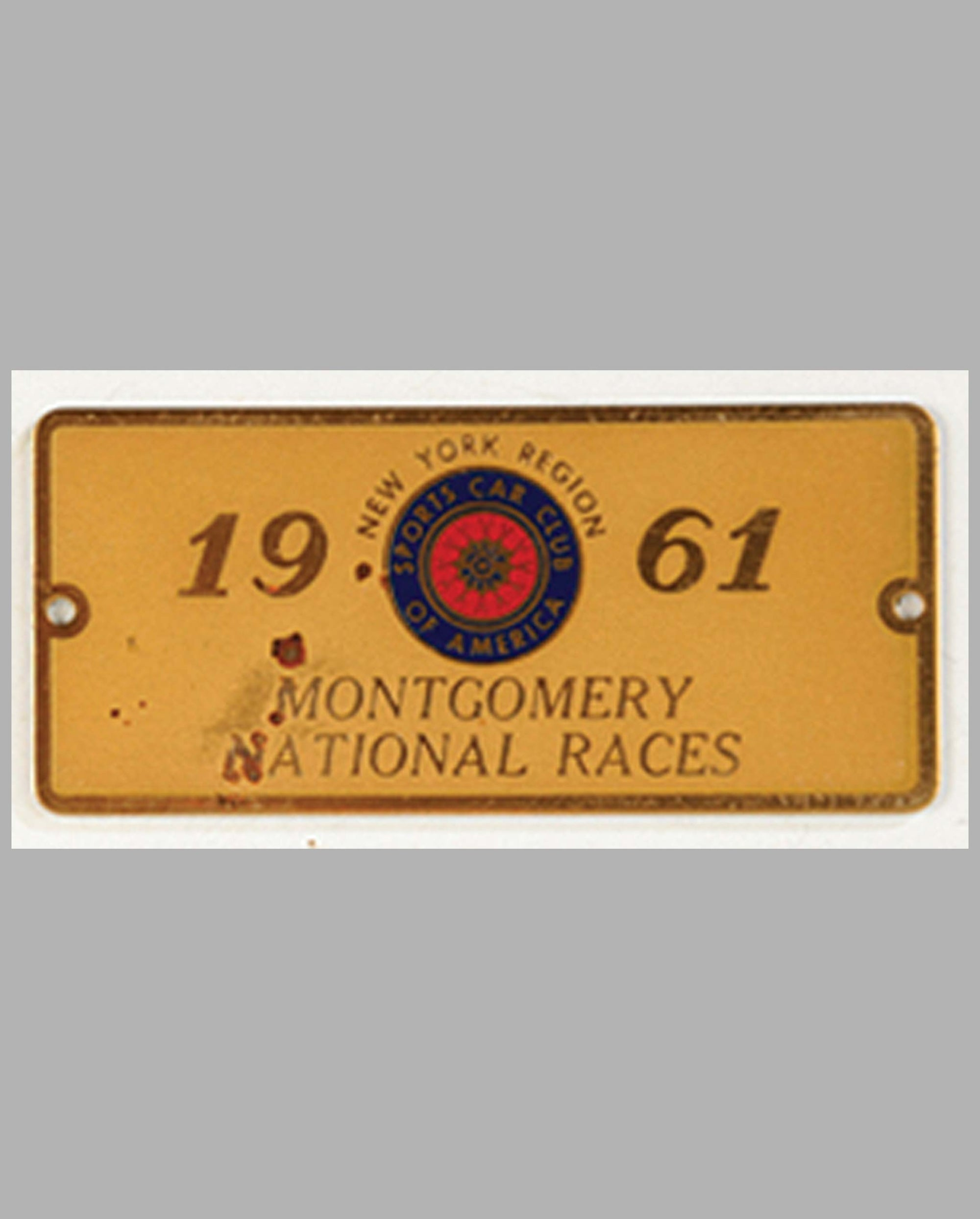 1960 Montgomery National Races participant's dash plaque