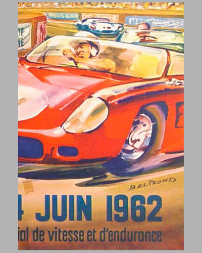 1962 24 hours of Le Mans original advertising Poster 2