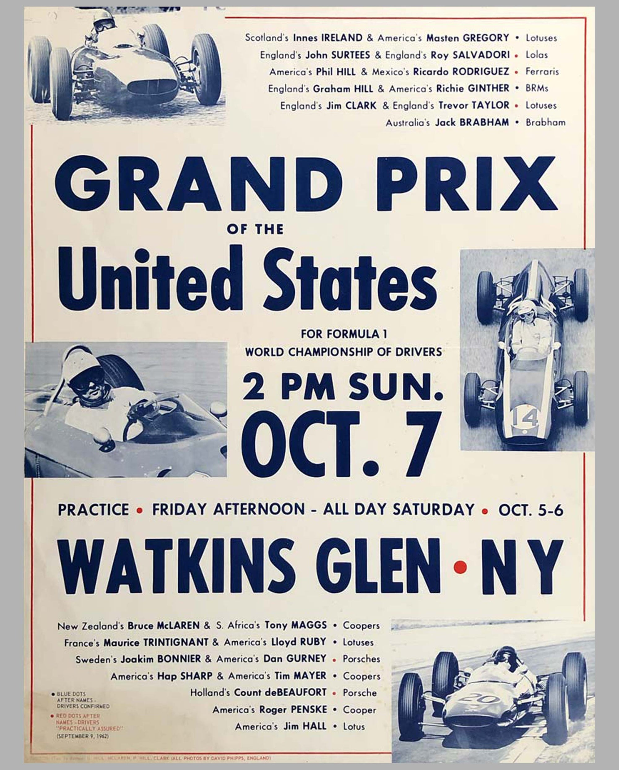 1962 Grand Prix of the U.S. at Watkins Glen original advertising Poster