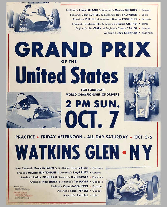 Grand Prix of the U.S. at Watkins Glen 1962 original advertising Poster