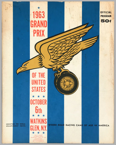 Grand Prix of the USA at Watkins Glen original 1963 program