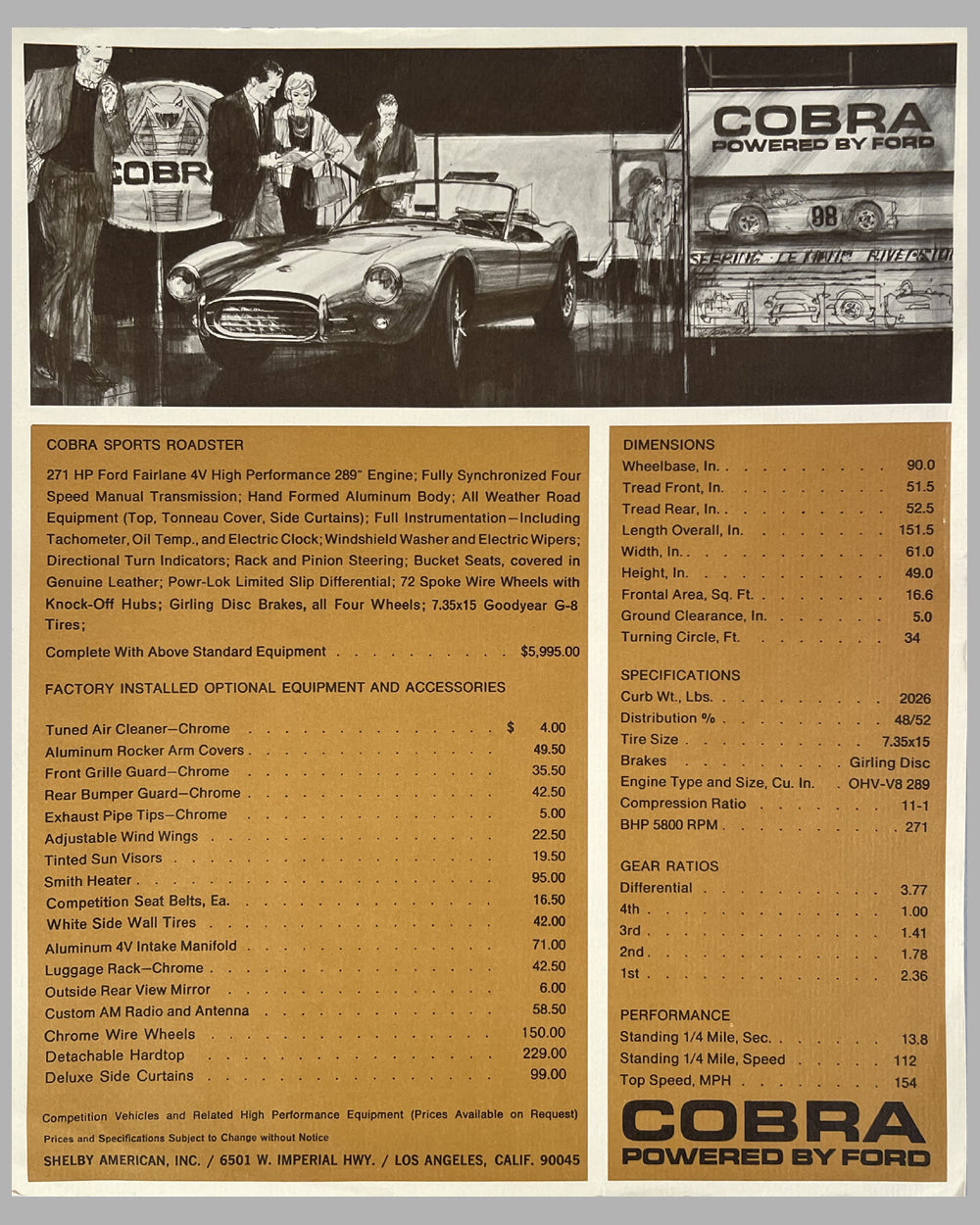 1963 Shelby Cobra with Ford 289 engine original sales sheet / brochure