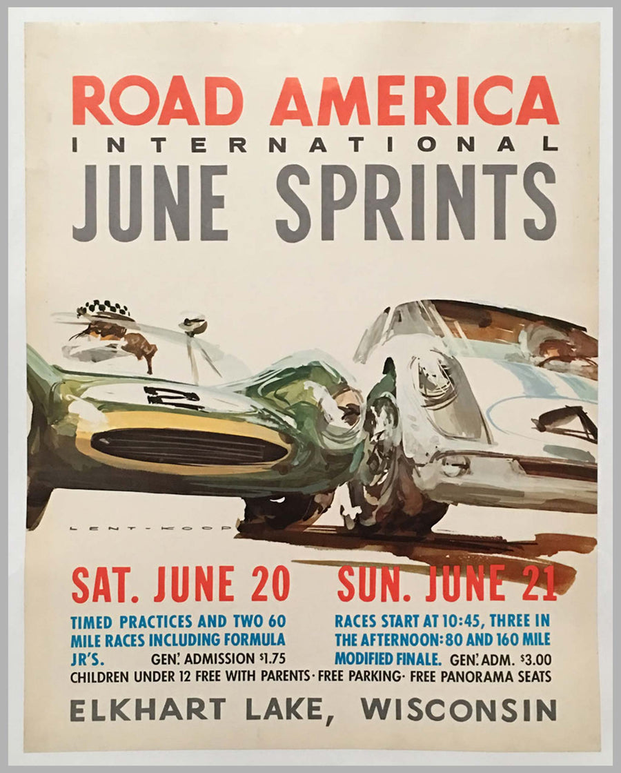 Road America International June Sprint races 1964 original poster