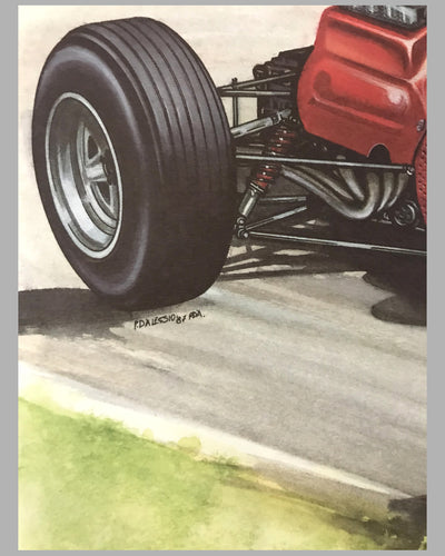 1964 Ferrari 158 print by Paolo D'Alessio (Italy), 1987