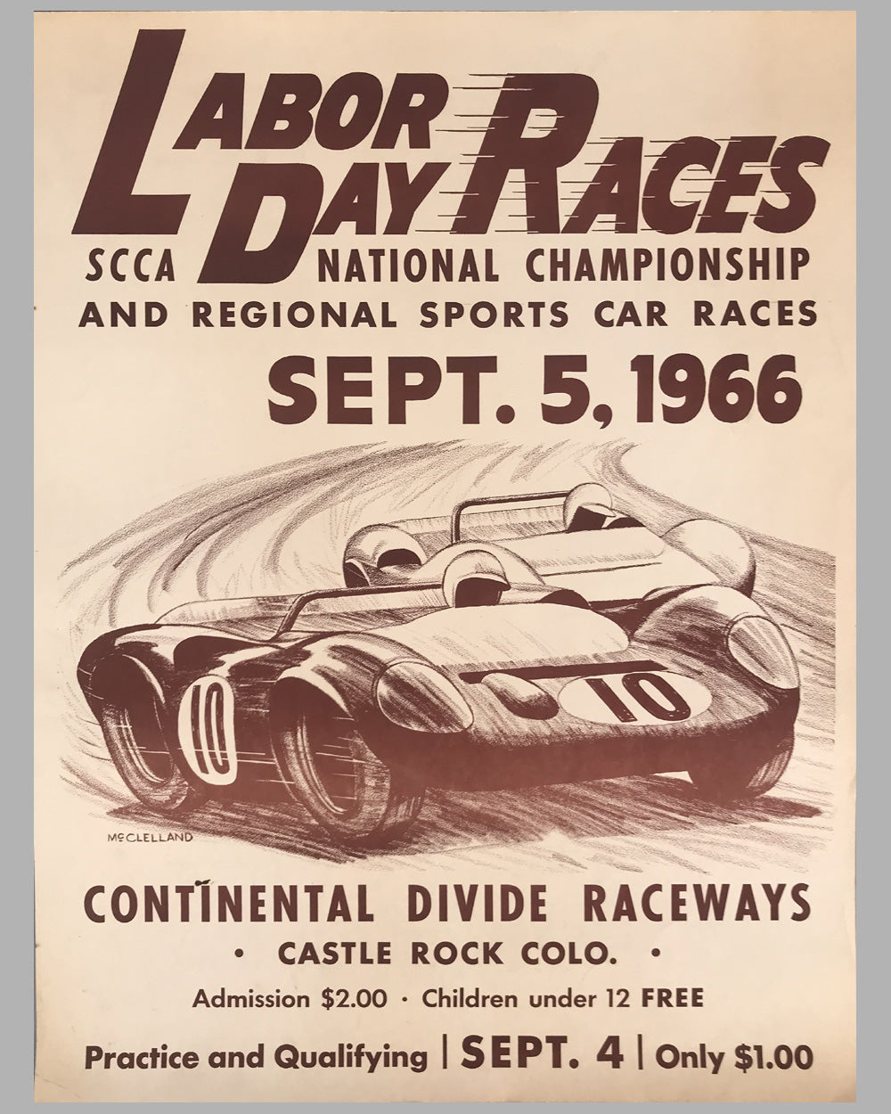 1966 SCCA Continental Divide Raceways Labor Day Races original event poster