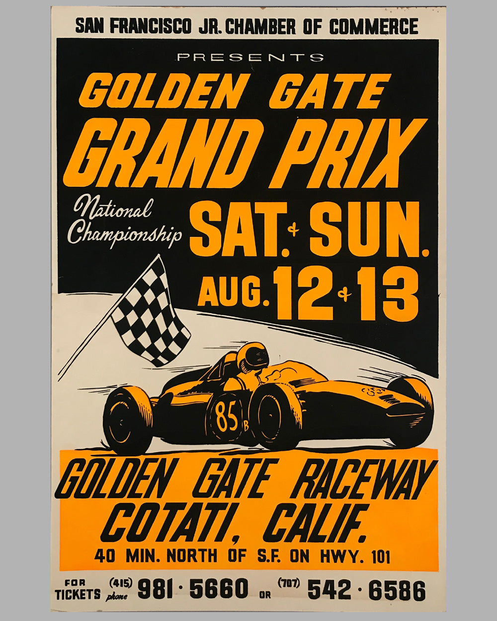 Golden Gate Grand Prix original advertising poster, 1961