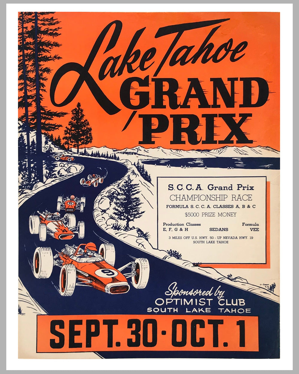 Lake Tahoe Grand Prix, 1967 original advertising poster