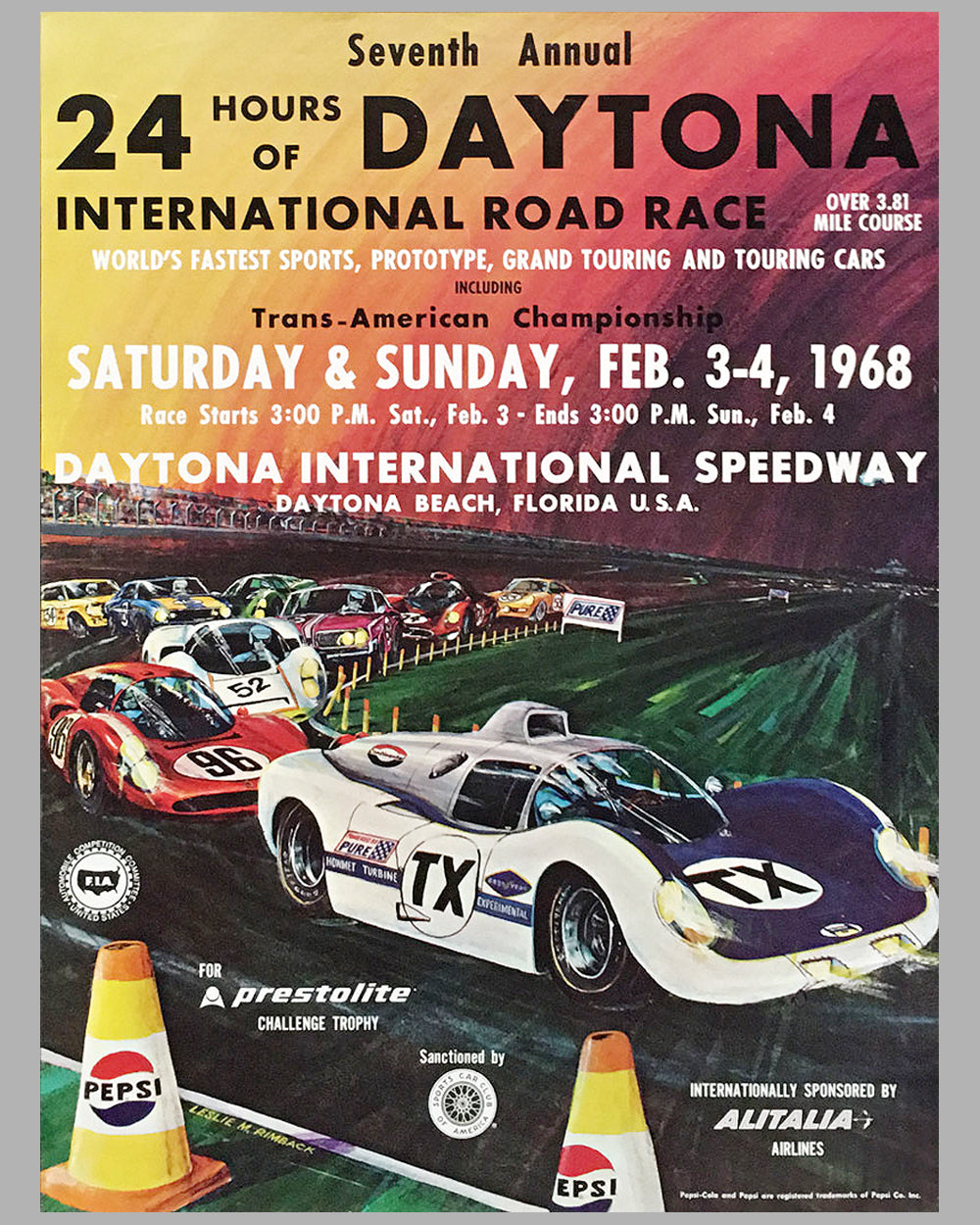 1968 24 hours of Daytona original race poster by Leslie Rimback