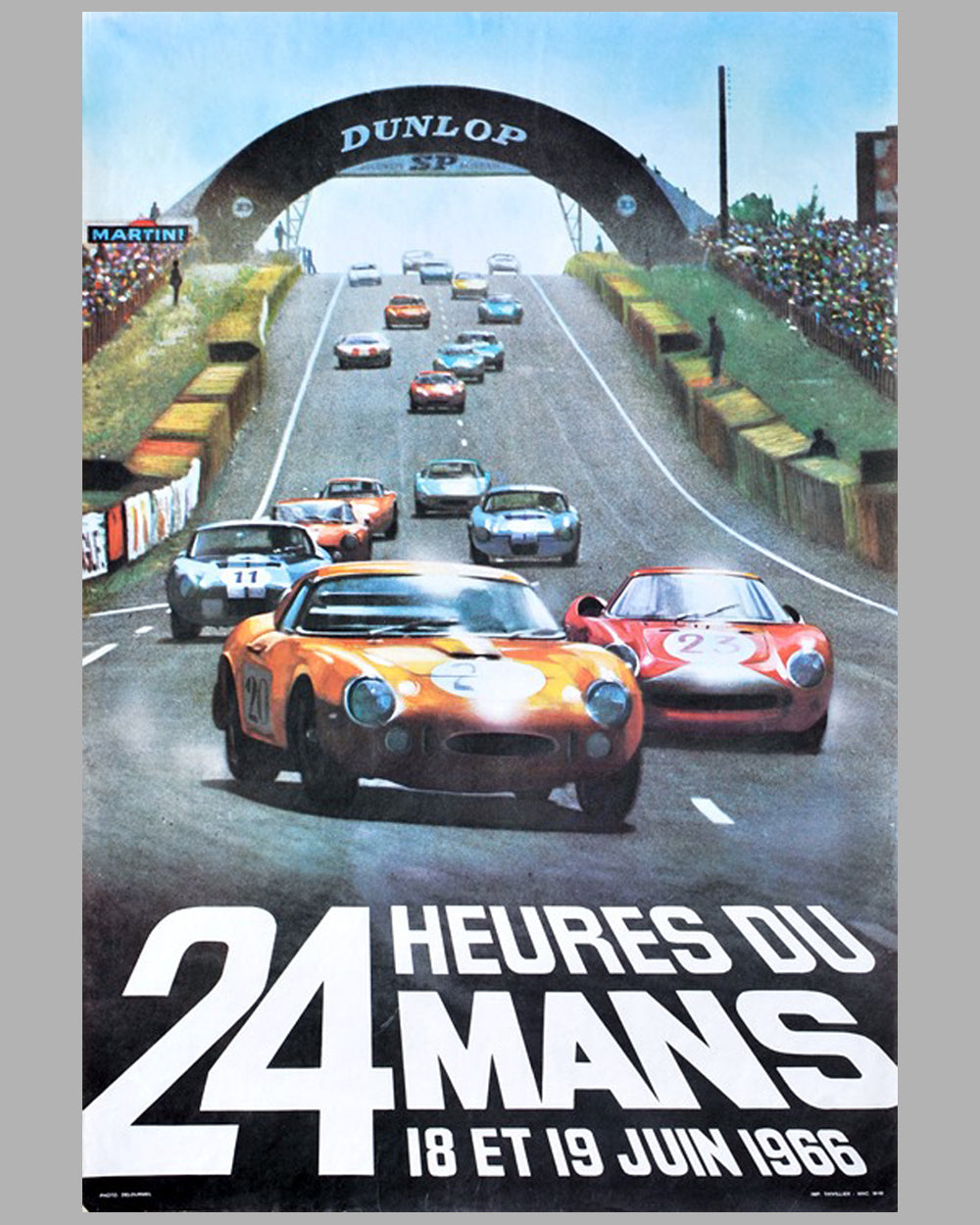 27 - 1966 - 24 hours of Le Mans original poster by Andre Delourmel
