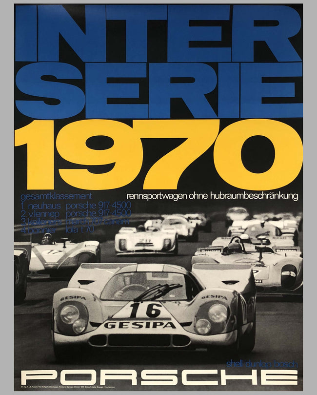 Porsche Factory Poster Interserie 1970 Championship for Sports Prototype