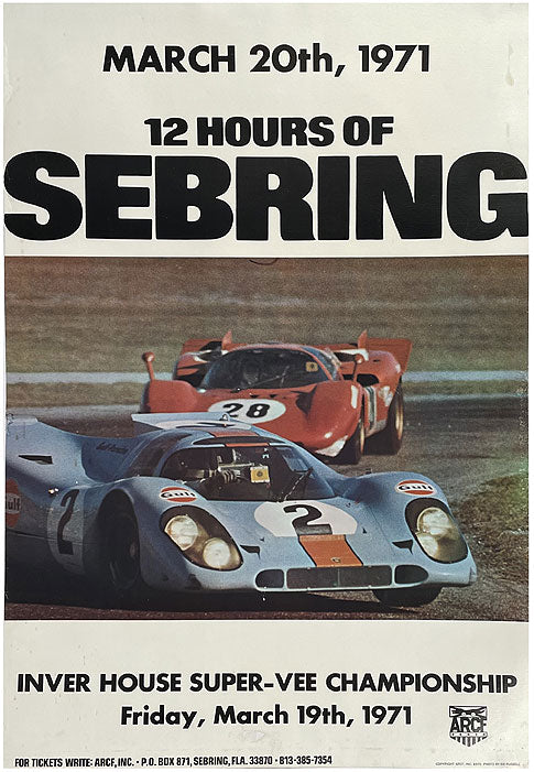 1971 - 12 Hours of Sebring original poster