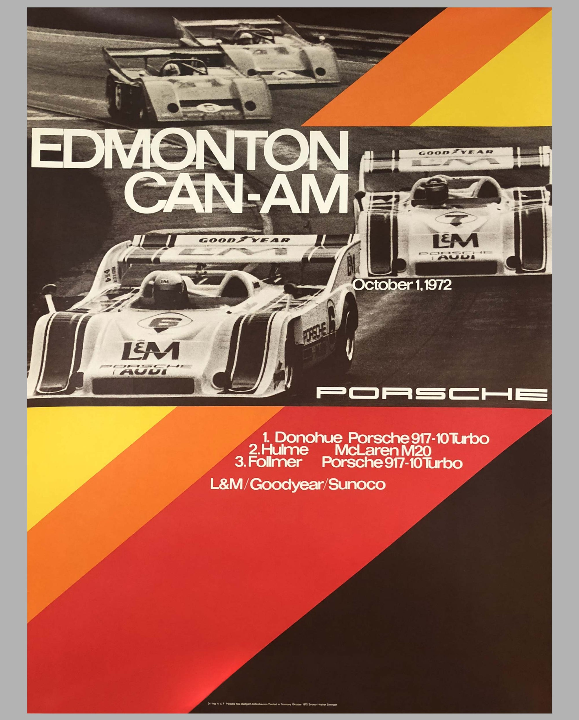 1973 Porsche Factory Victory Poster Edmonton Can Am