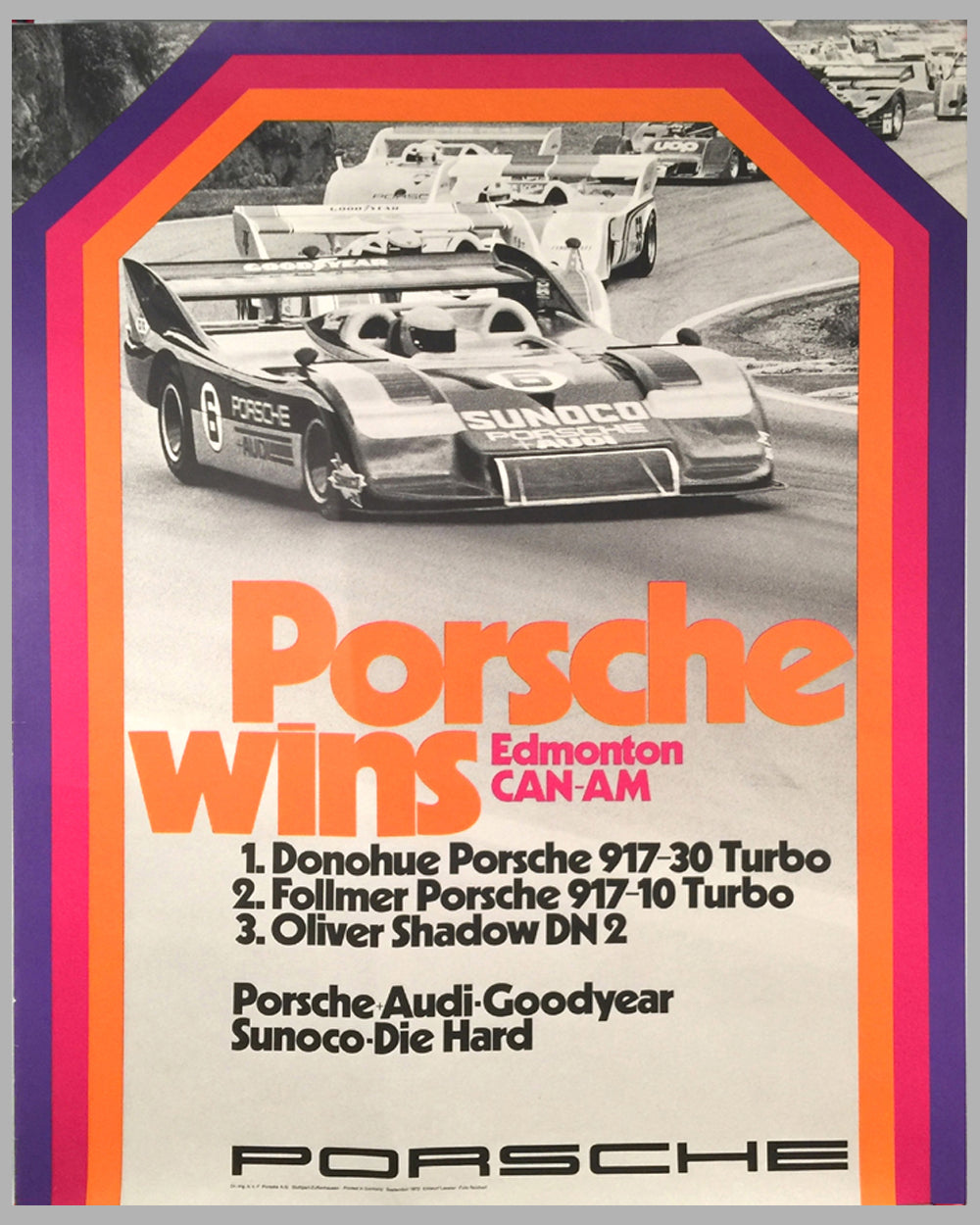 1973 Porsche wins Edmonton Can Am Porsche Factory Victory Poster