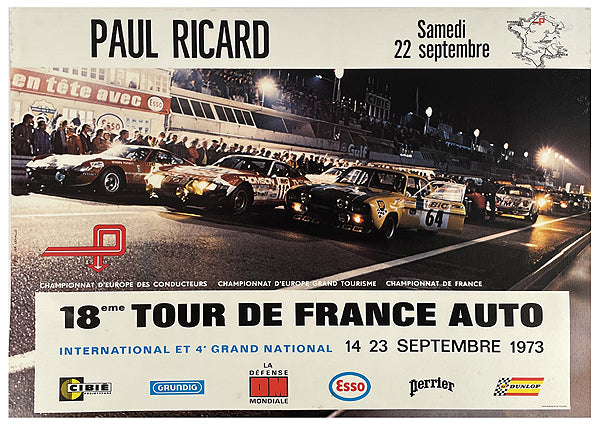 18th Tour de France Auto at Paul Ricard circuit original poster, 1973