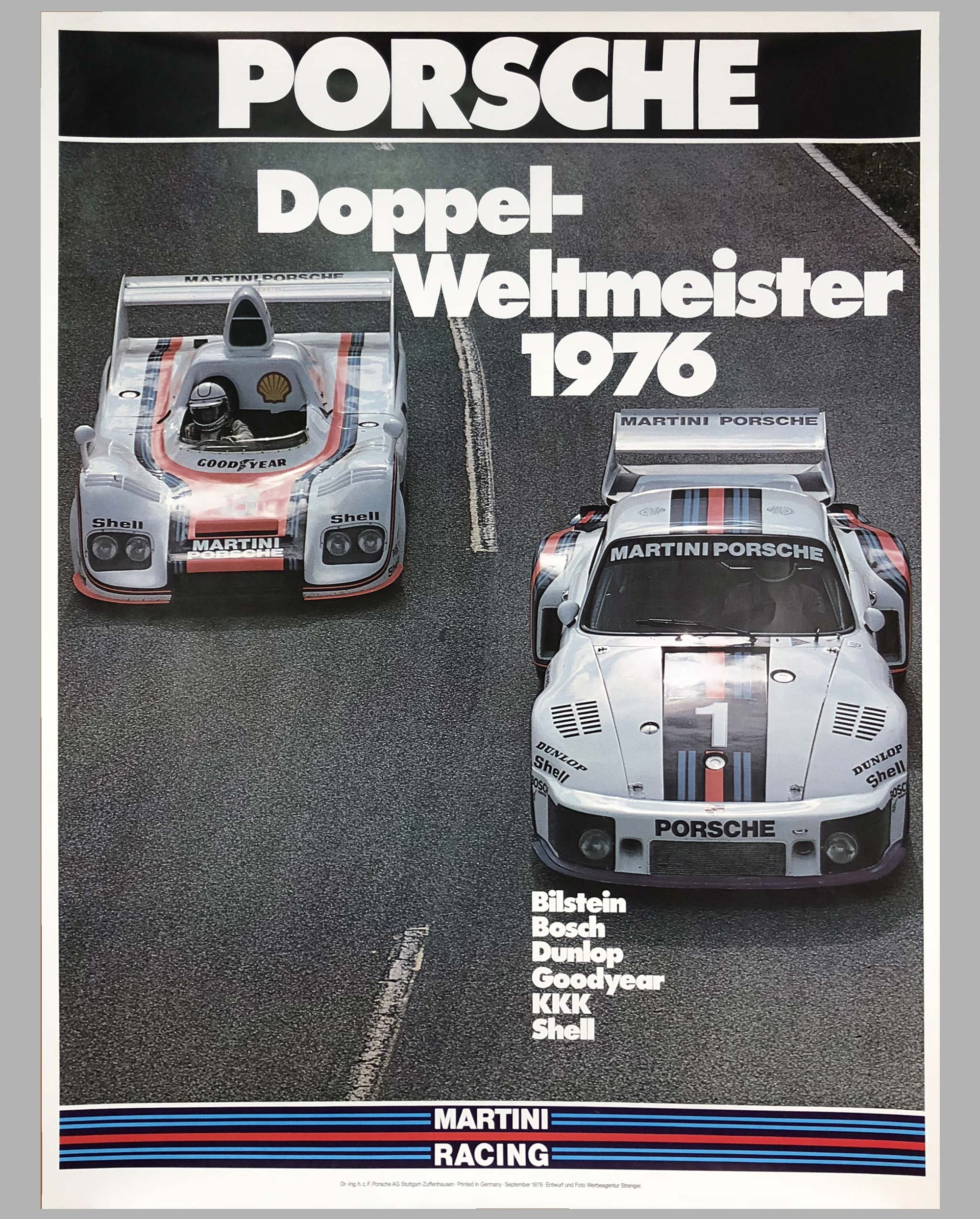 1976 Porsche Factory Victory Poster Double World Endurance Champions - $430.00