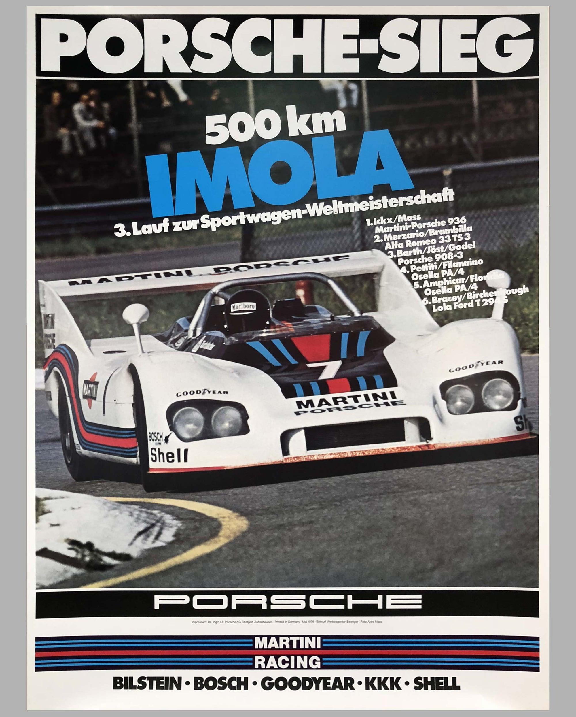 1976 Porsche Factory Victory Poster 500 Km of Imola