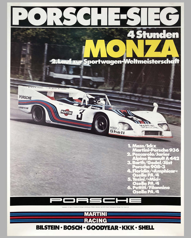 Porsche Factory Poster 4 Hours of Monza 1976