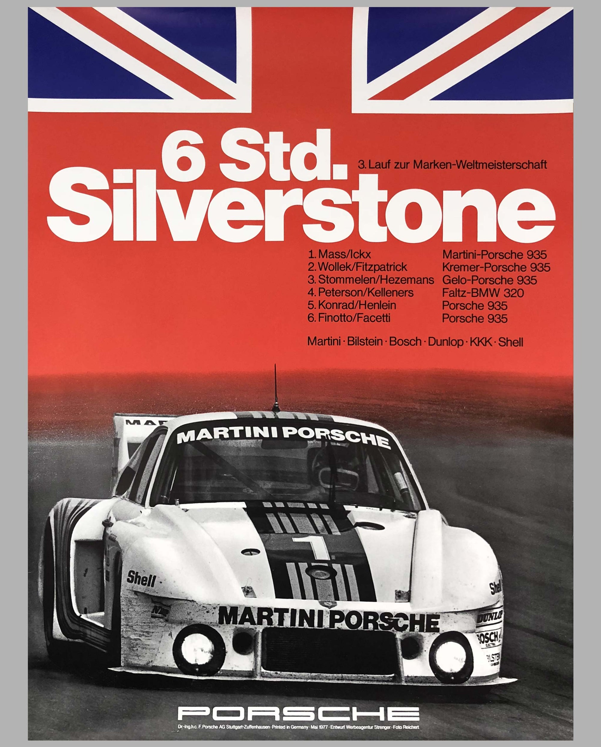 1977 Porsche Factory Victory Poster 6 Hours of Silverstone