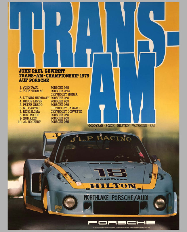 Porsche Factory Poster Trans Am Champion 1979