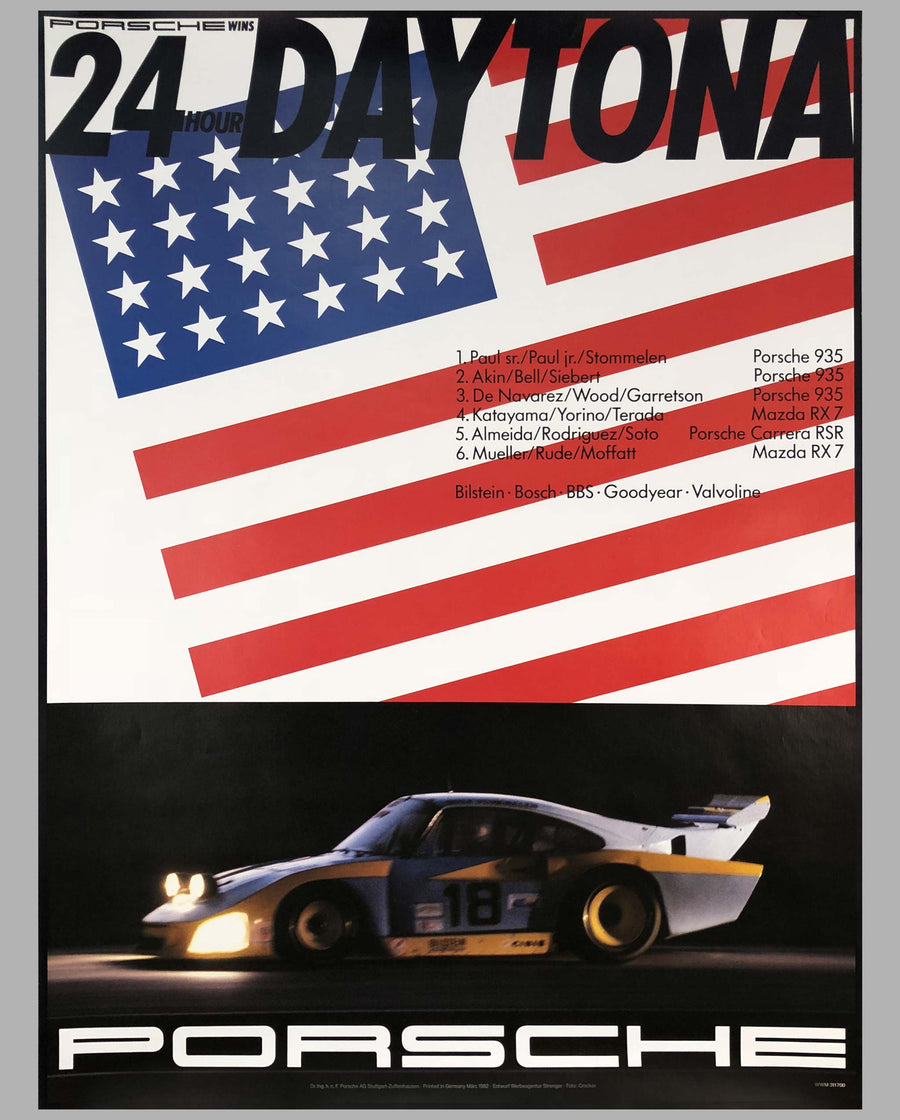 Porsche Factory Poster 24 Hours of Daytona 1982