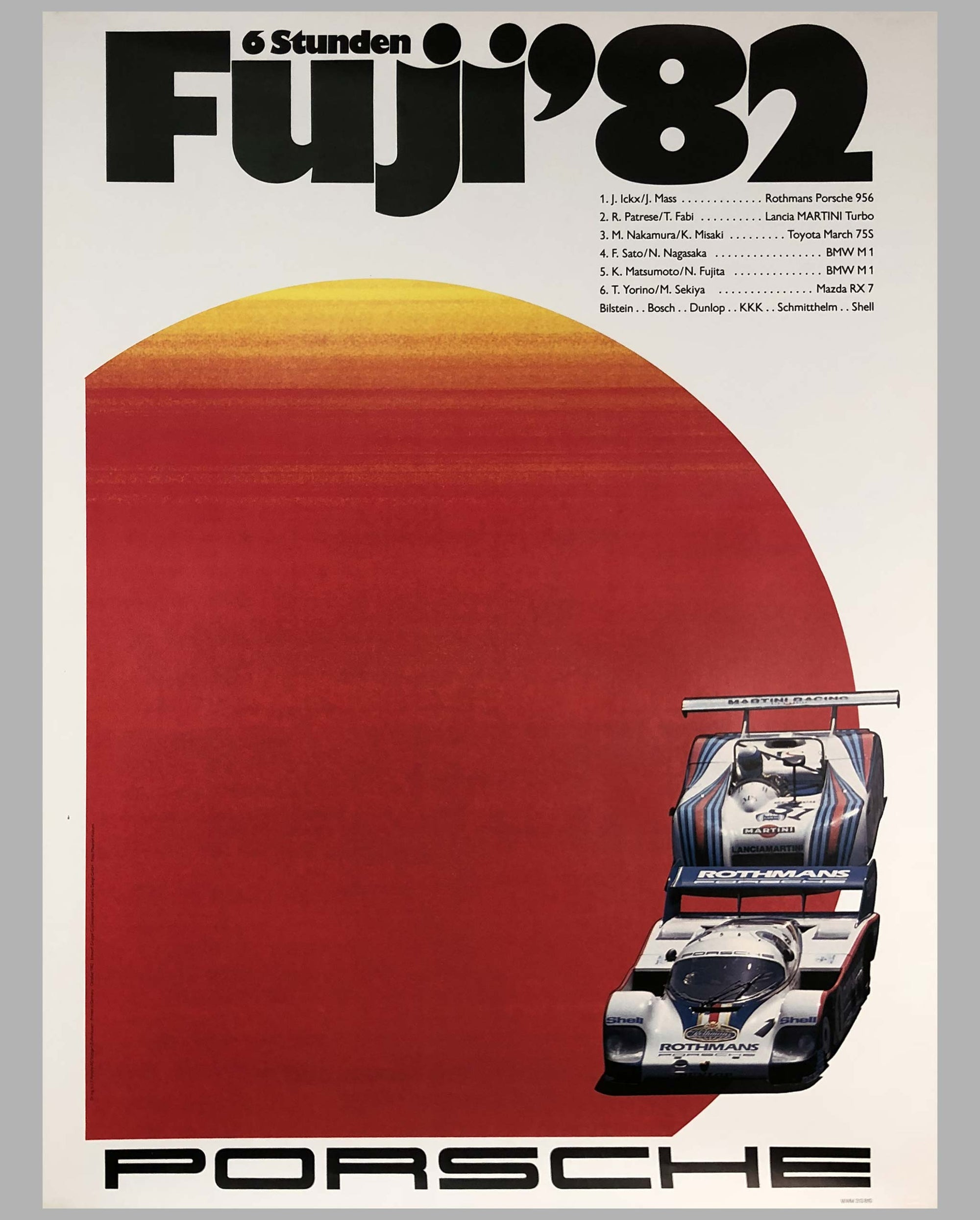 1982 Porsche Factory Victory Poster 6 Hours of Fuji