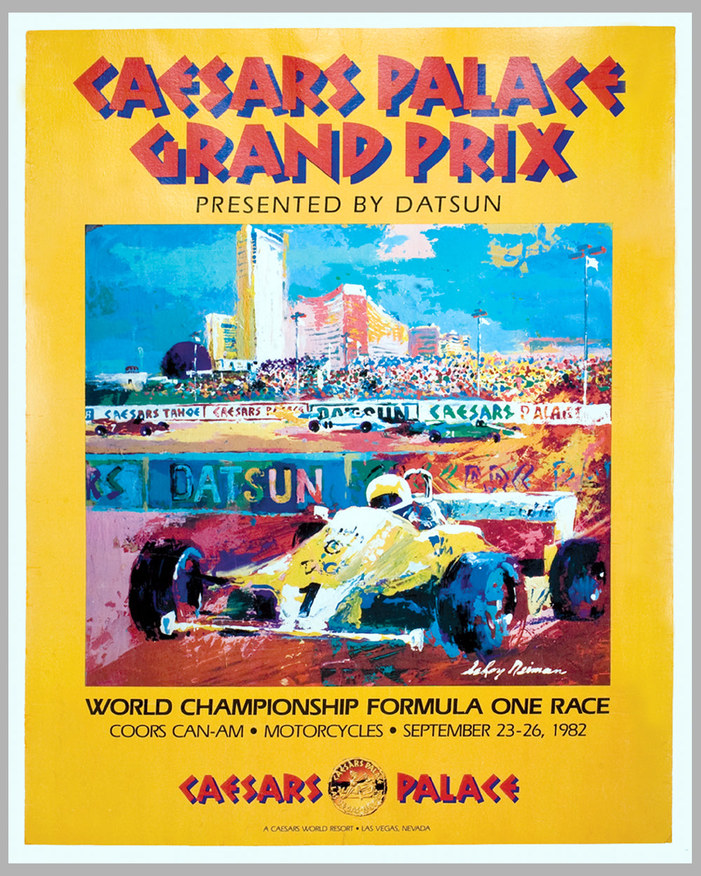 1982 Caesars Palace Grand Prix of Las Vegas original poster by LeRoy Neiman