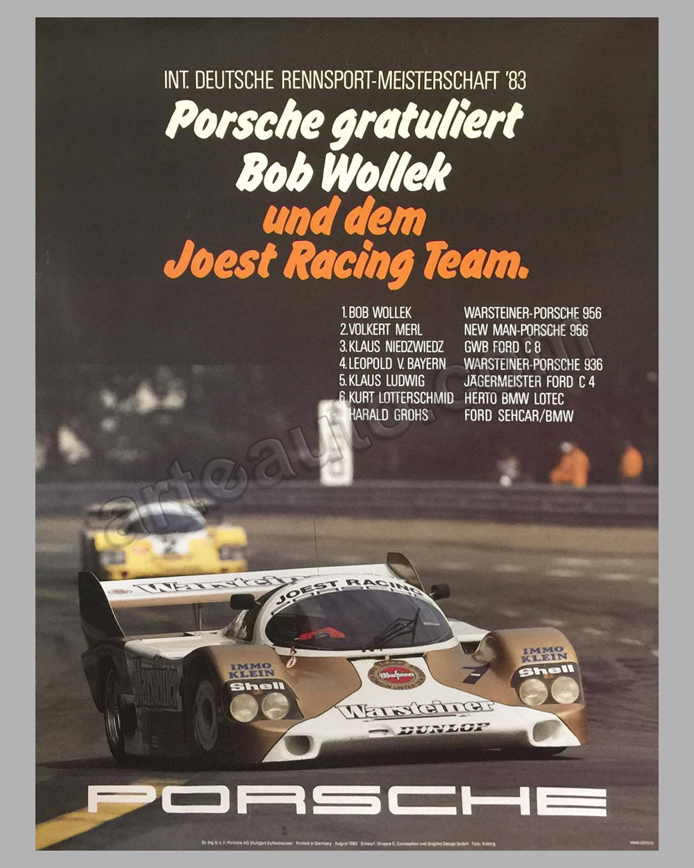 1983 German Sports Car Championship Porsche Victory Poster