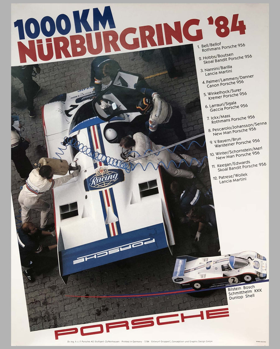 Porsche Factory Victory Poster 1000 Km of Nurburgring 1984