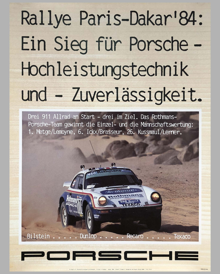 Porsche Factory Poster Rally Paris-Dakar 1984