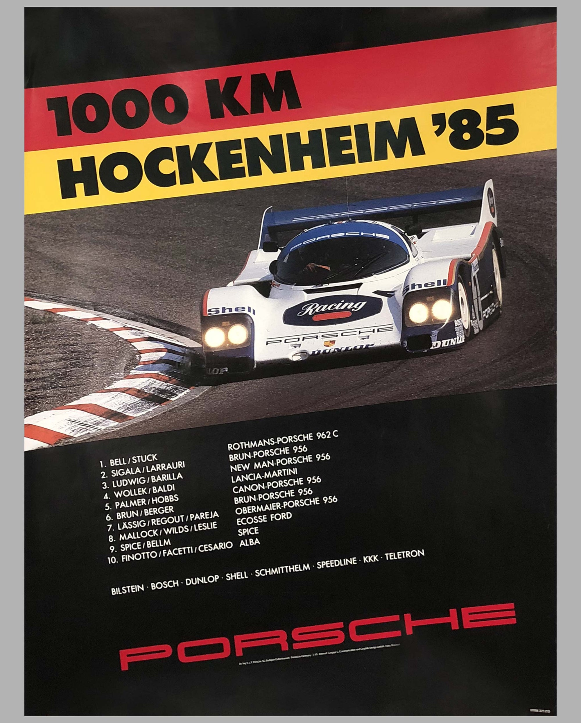 Porsche Factory Poster 1000 Km of Hockenheim 1985