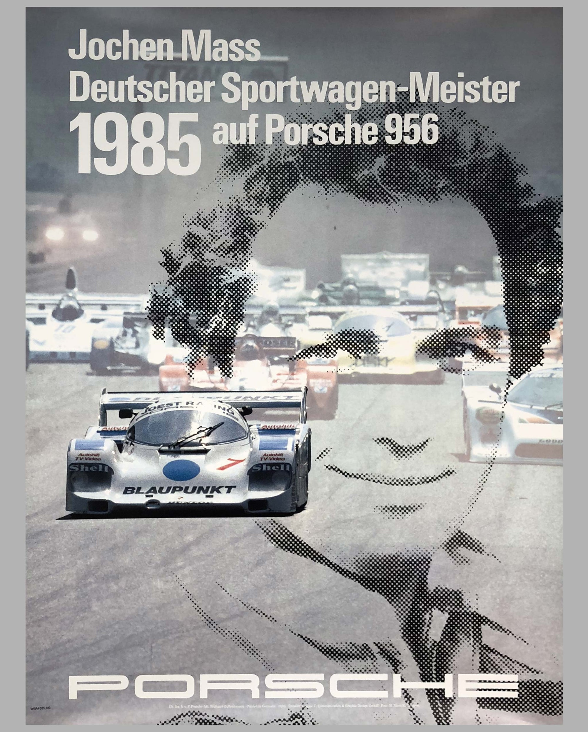 Porsche Factory Poster Jochen Mass German Endurance Champion 1985