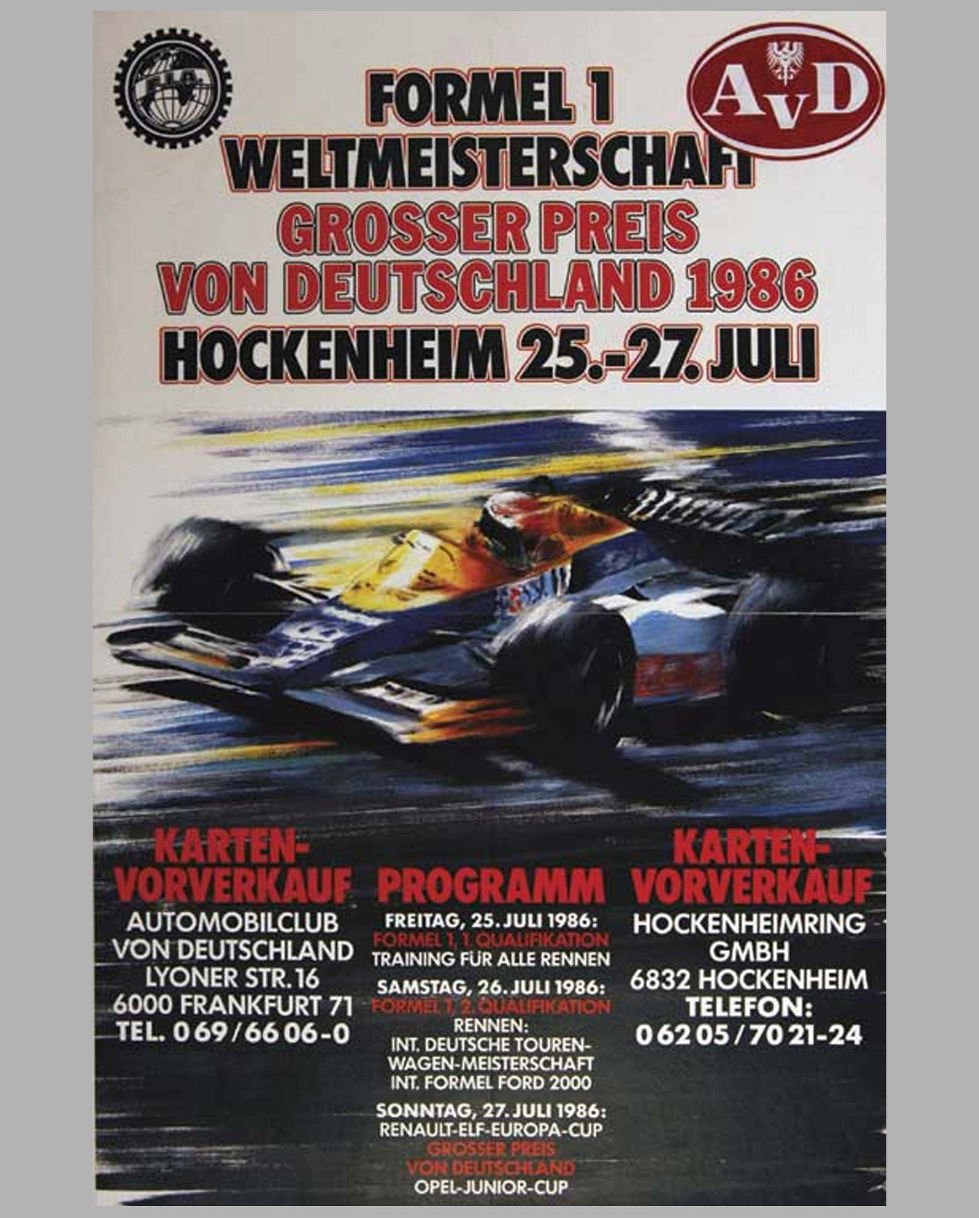 GP Germany - Hockenheim 1986 original official event poster