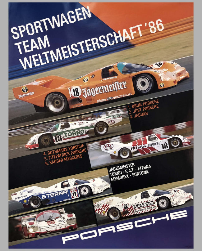 Porsche Factory Poster 1986 Sports Car World Champions