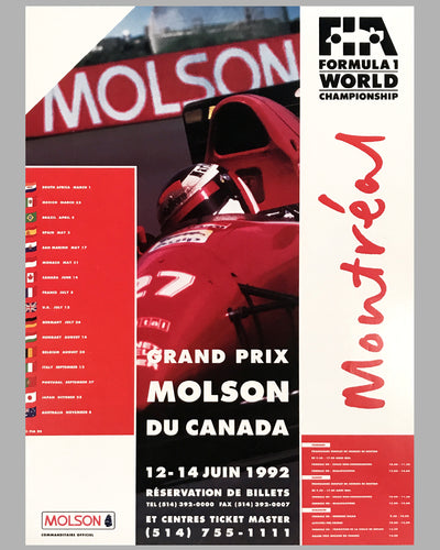 1992 Grand Prix of Canada Montreal official event poster