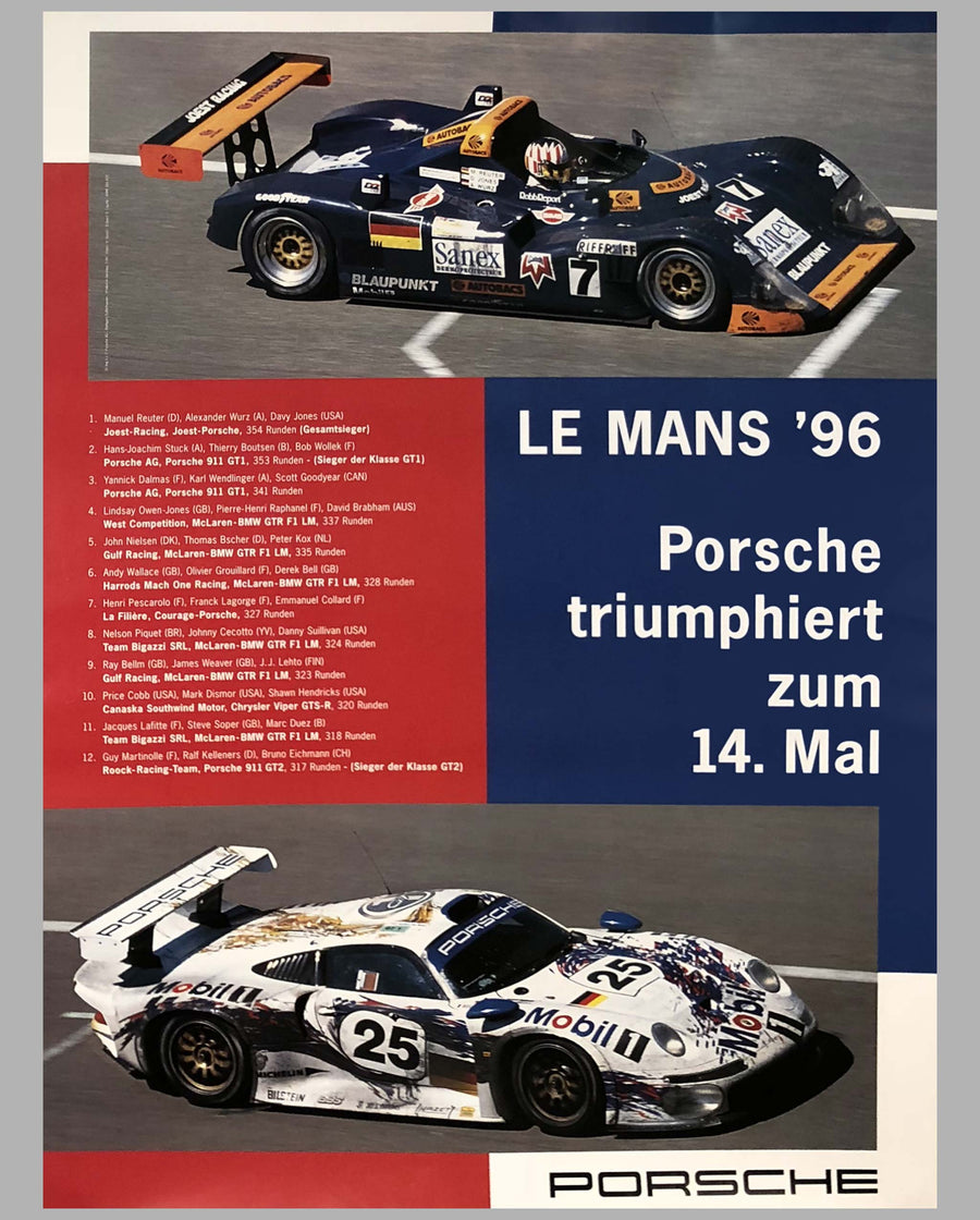 Porsche Factory Poster 24 Hours of Le Mans 1996