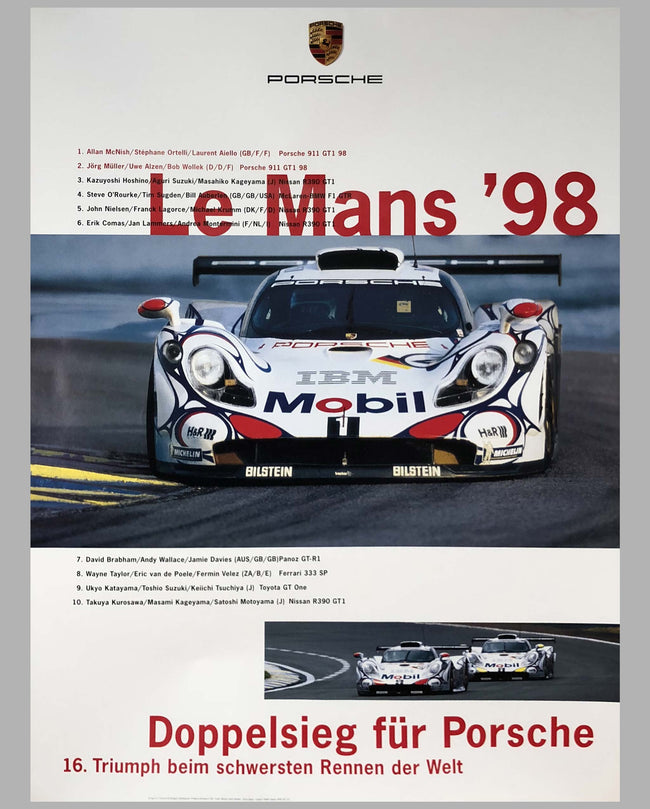 Porsche Factory Poster 24 Hours of Le Mans 1998