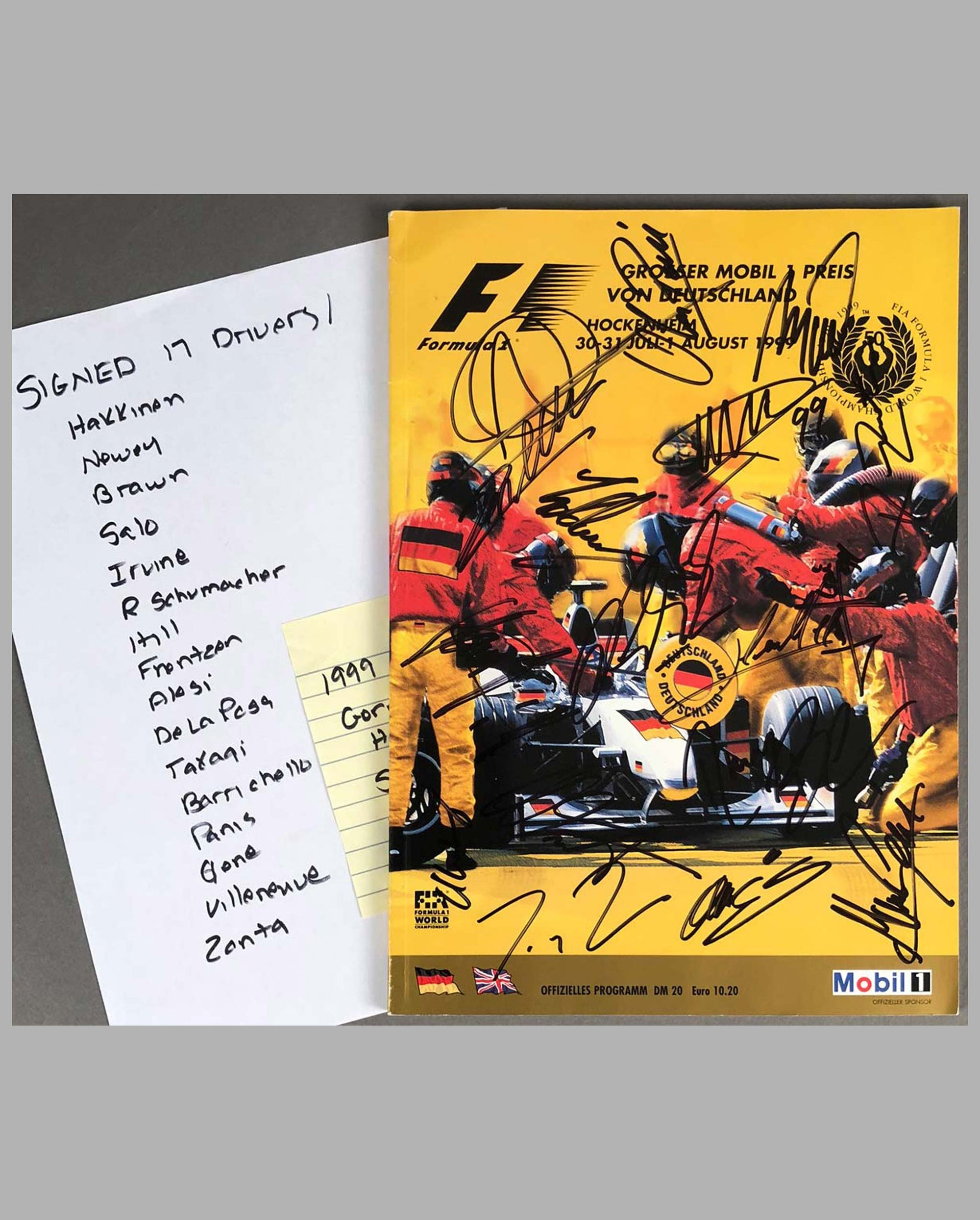 1999 Grand Prix of Germany official program, Autographed by 14 drivers