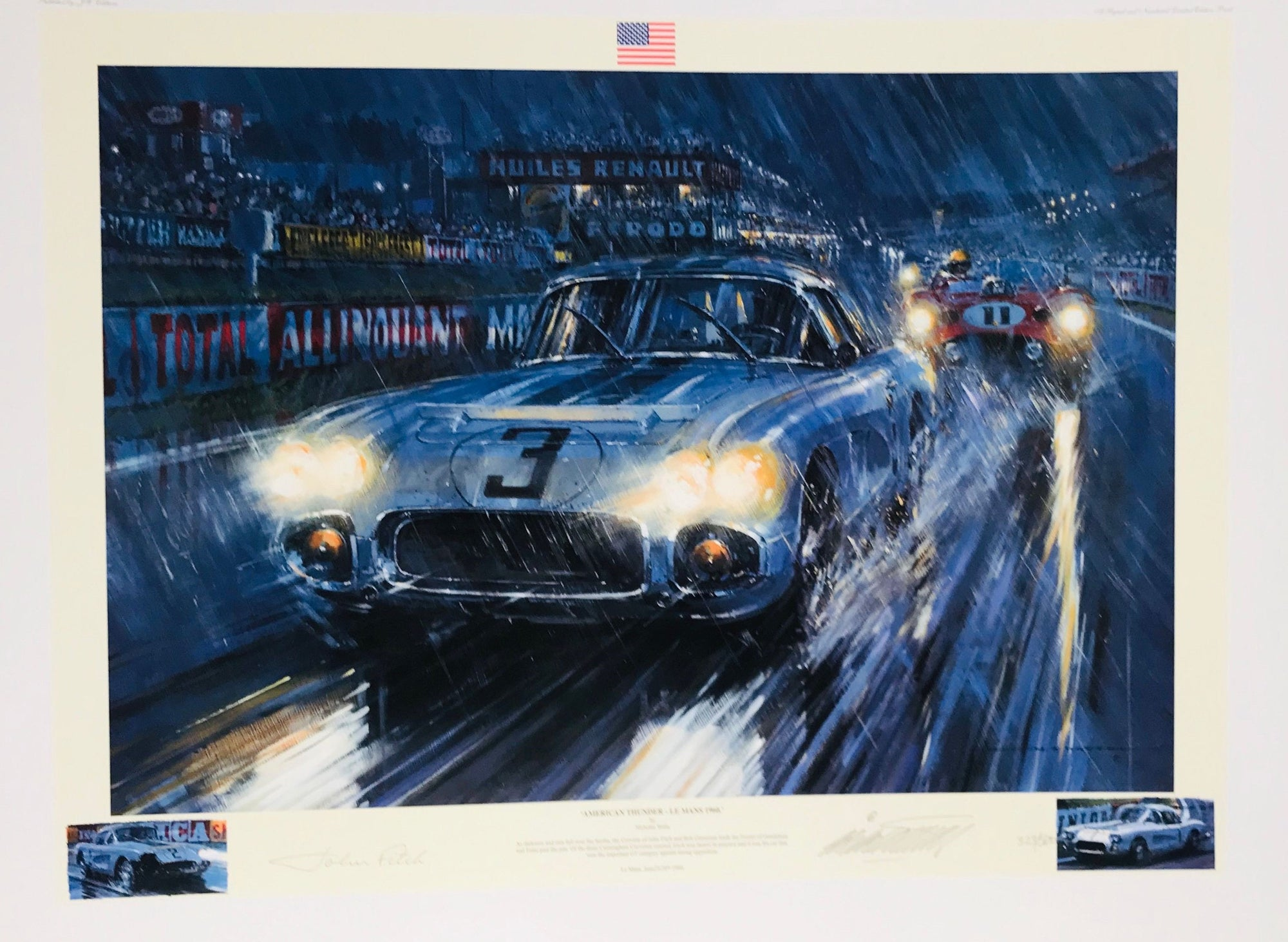American Thunder Le Mans 1960 print by Nicholas Watts, autographed by John Fitch