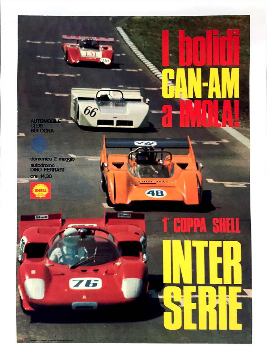 1st Coppa Shell Interserie Race at Imola Event Poster, 1970 - $395.00