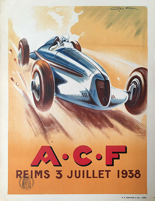 Grand Prix of France at Reims, 1938 multicolor original official event poster by Geo Ham