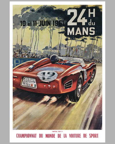 24 hours of Le Mans 1961 original poster by Beligond