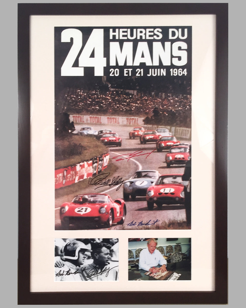 1964 - 24 Hours of Le Mans ACO poster autographed by Carroll Shelby, Dan Gurney and Bob Bondurant