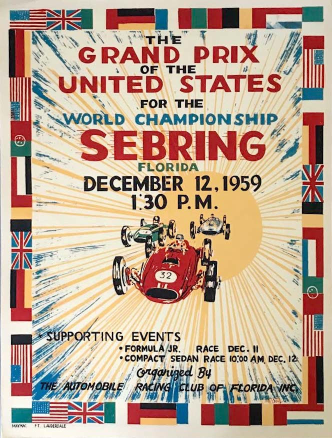 Grand Prix of the United States at Sebring, Florida in 1959 poster - $110.00