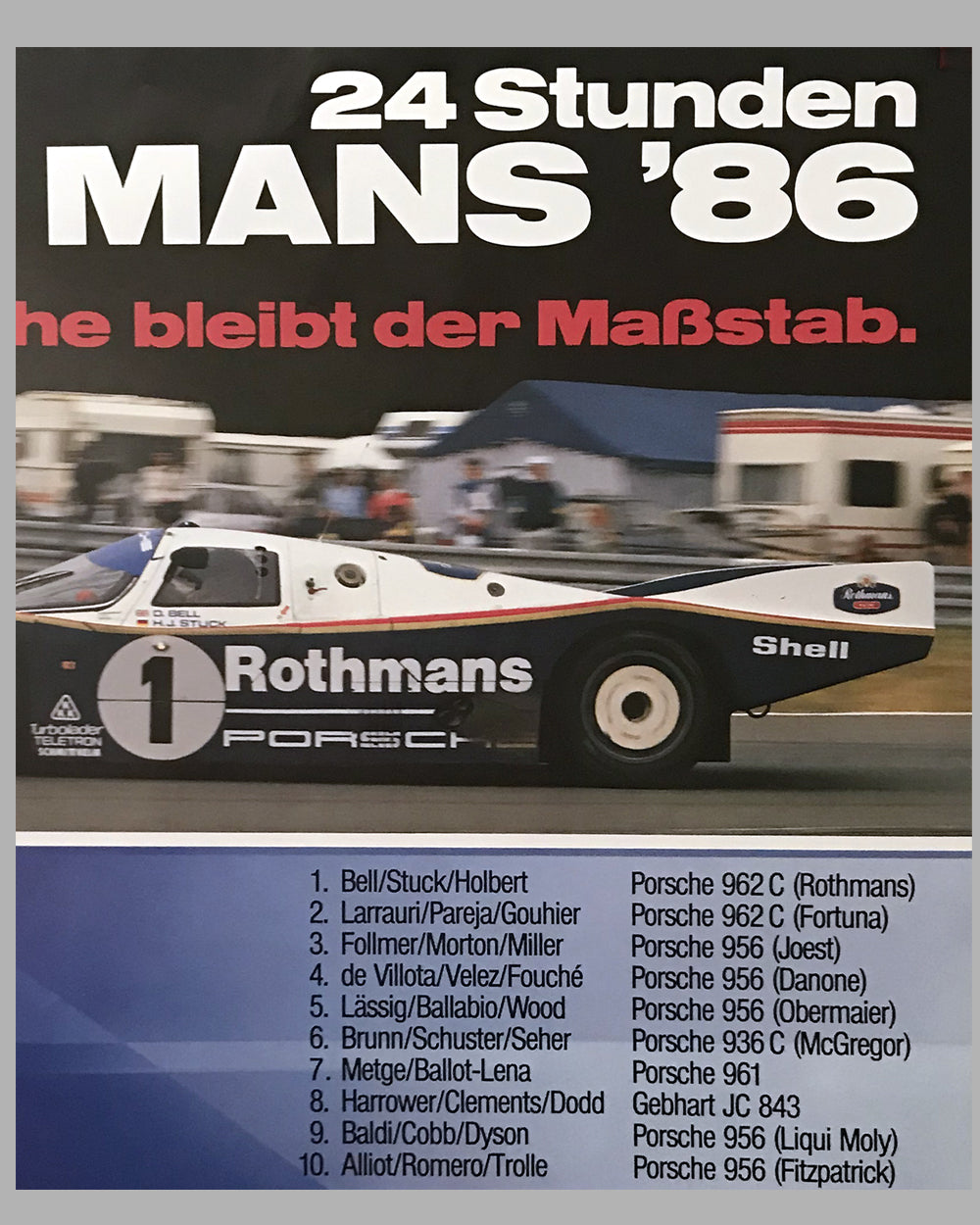 1986 - 24 Hours of Le Mans Porsche Victory Poster