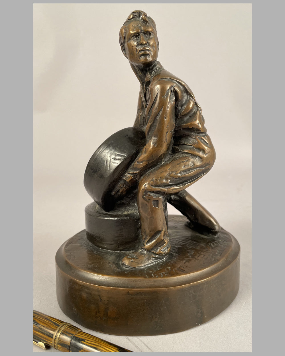"""Two for the Track"" bronze sculpture by Larry Braun"
