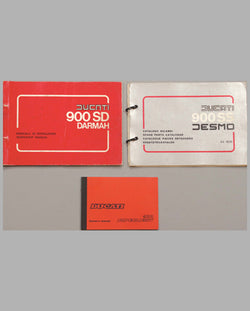 Three Ducati 900 original factory shop manuals and owner's manual
